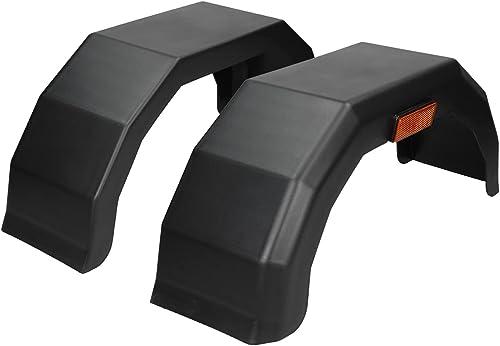 ECD Germany Paire 2X Garde-Boue pour Remorque 10 Pouces - 180/605 mm - en Plastique PP - Noir - Protection Roue Carav...