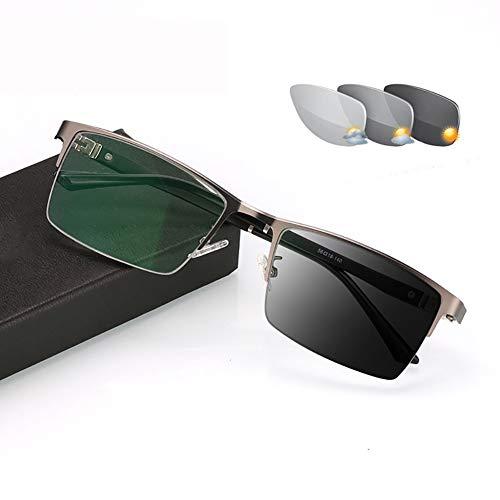 Lesebrille Aspharisch Photochromic Sonnenbrille 0,25 bis 6,00 Dioptrien - Rechteckig Fassung Brille Herren Männer Sonne Lesebrille für Blendschutz UV400 Anti Glare (+0.75,Black Frame)