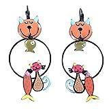 Les Trésors De Lily [Q5789] - Durmientes creativos 'Lilipoupettes' (gatos sardinas) naranja multicolor - 60x30 mm.
