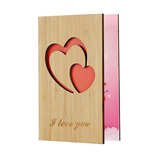 Valentines Day Card for Her Him,I Love You Wooden Greeting Cards Valentines Day Gifts for Girlfriend,Boyfriend,Wife,Husband,Men,Mothers Day,Happy Anniversary Gifts,Perfect Gift for Any Occasion