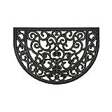 Felpudo Robusto para Exterior – felpudos Entrada casa – Felpudo Antideslizante con Cepillo de Goma – Alfombrilla para Puerta Delantera – Felpudo Negro - semicircular 40x60cm