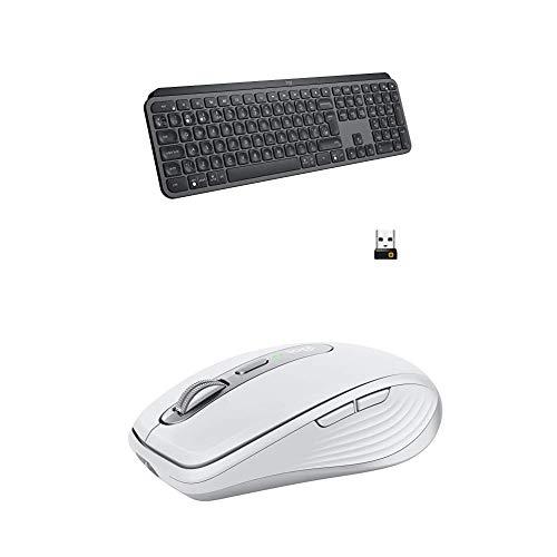 Logitech MX Keys Advanced Wireless Illuminated Keyboard - Graphite with Anywhere 3 Compact Performance Mouse, Wireless, Comfort, Fast Scrolling - Pale Grey