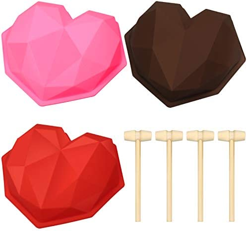 3 Pieces Diamond Heart Silicone Cupcake Mold for Baking Diamond Heart Shaped Cake Mold Trays product image