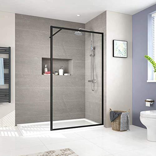EMKE Walk In Dusche, 100x200cm Walk In Duschtrennwand Glas Duschwand mit 8mm Nano-Beschichtung ESG Klares Sicherheitsglas Schwarz