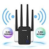 WiFi Range Extender, AC1200 WiFi Extender Up to 1200Mbps 2.4GHz & 5.8GHz Dual Band Wireless Signal Booster WiFi Repeater with External Antennas - Extends WiFi to Smart Home & Alexa Devices