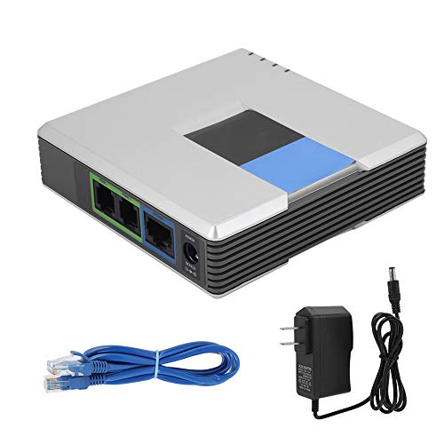 Socobeta VoIP Phone Adapter VoIP Gateway Internet Phone 2 Ports Adapter SIP RJ45 Cable for PAP2T(US Plug)