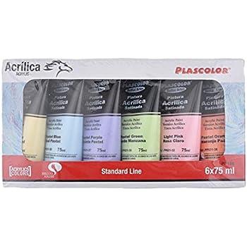 Plascolor PP186 - Pack de 6 tubos de pintura acrílica, multicolor ...