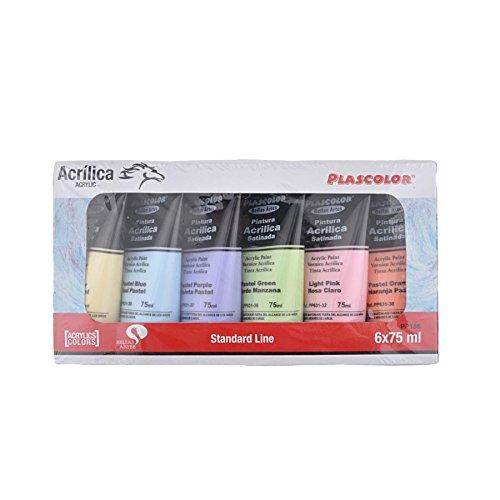 Plascolor PP186 - Pack de 6 tubos de pintura acrílica, multicolor