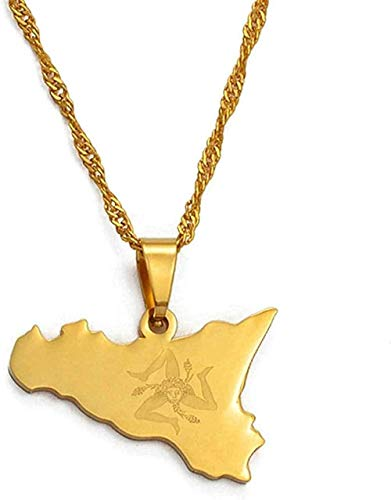 Yiffshunl Necklace Woman Necklace Italy Sicily Map Pendant Necklaces Stainless Steel/Gold Color Italian Sicilia Jewelry Gifts