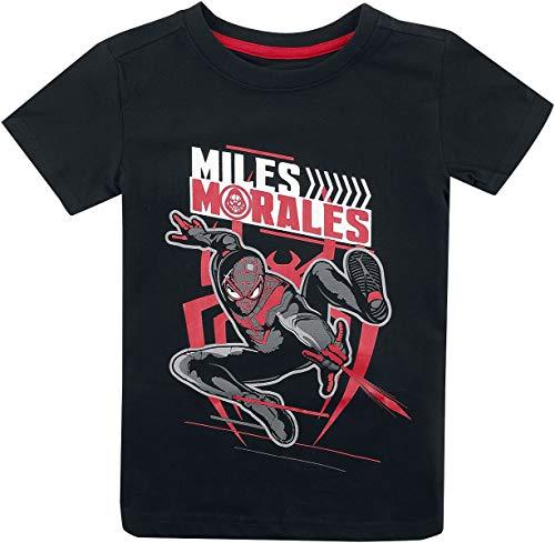 Spider-Man Miles Morales Hombre Camiseta Negro 122/128, 100% algodón,