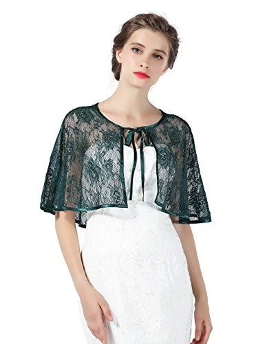 Chal Estola Encaje Mujer Capa Bolero Crochet para Fiesta Boda Novia Negro Blanco Rojo