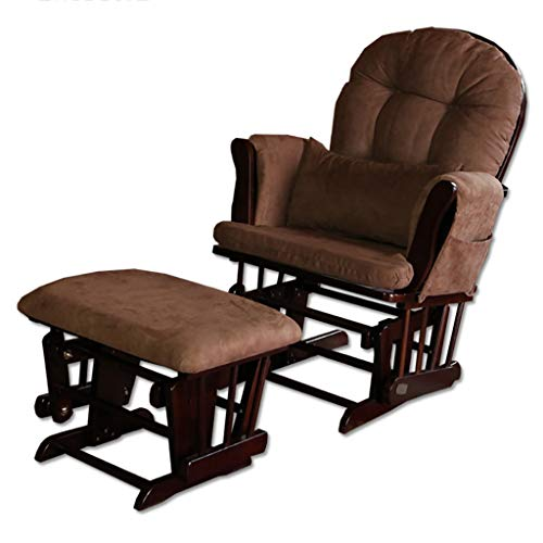 Glider Rocking Nursing Recliner Maternity Chair & Foot Stool for Baby-Wood Frame and Cotton Linen Cover Glider Chair and Ottoman Set