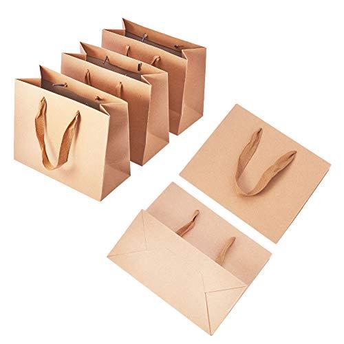 PandaHall - Paquete de 10 Bolsas de Papel Kraft para la Compra, Bolsas de Papel con Asas, Bolsas de Regalo, Bolsas de Fiesta, Bolsas con asa para minoristas, Bolsas de mercancía, 22 x 18 x 10 cm