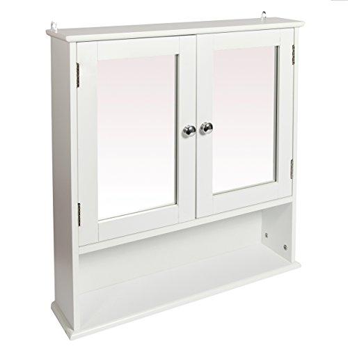 Woodluv - Armadietto A Specchio per Bagno, Bianco