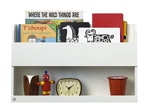 Tidy Books ® - Regal Hochbett Kinder | Weiß | Wandregal Kinderzimmer | Bücherregal Kinder aus Holz | Hängeaufbewahrung Kinderzimmer | 33 x 53 x 12 cm | Handgefertigt | Der Original Bunk Bed Buddy™