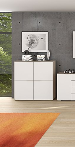 lisel-de Maja Aktenschrank Highboard YAS 1537 in Glas Sand matt/Weißglas matt mit abschließbarem Multifunktionseinsatz - 111,8x113,6x37,2cm Mehrzweckschrank Büroschrank