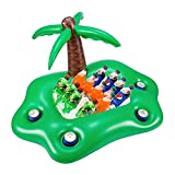 Inflatable Drink Holder Cooler for Pool, Palm Tree Ice Bucket Cooler Food Tray Pool Bar Float Floating Summer Party Accessories Jungle Theme Party Decorations