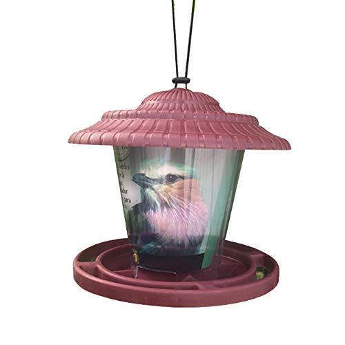 Milesaki Vogelvoeder, hangende lantaarn Vogelvoedermachine Tuinzaadvoeders Regenschuilplaats Weerbestendig voor Tuindecoratie buiten, 19cm, Rood