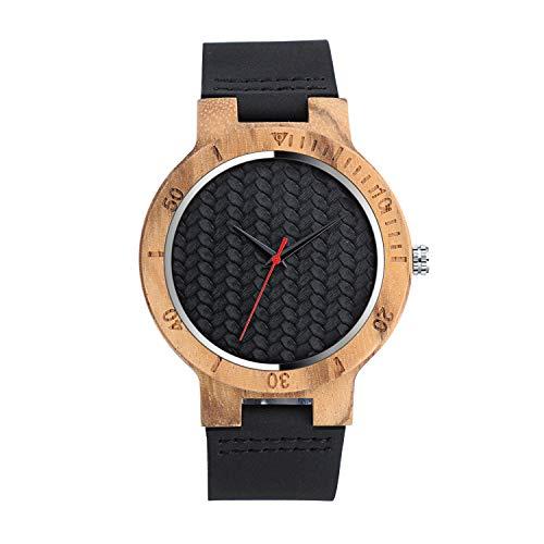 Unendlich U Herren Damen Unisex Einfach Bambus Holzuhr Analog Quarzwerk Armbanduhr mit Welle Schwarz Lederband Für Frauen Männer Ehemann Geschenke
