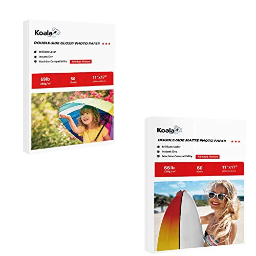 Heavyweight Matte Coated Photo Paper and Thick Glossy Photo Paper Double-side 11X17 Inches Total 110 Sheets