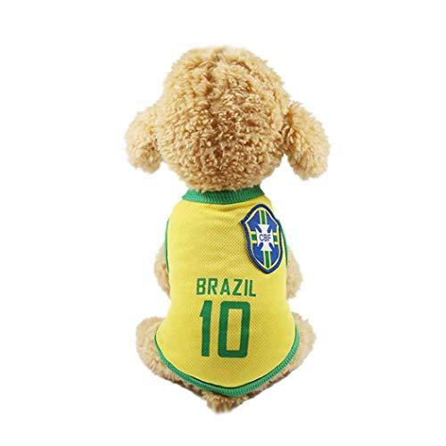 FEDSJUIHYG Kleine Hunde-Bekleidung Fußball Mesh-Breathable Netherlands Football Fans Für Pet Dogs Katzen- Brasilien (4XL) Kleine Hunde-Bekleidung