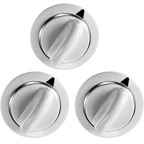 WE1M654 Dryer Timer Knob Replacement with Metal Ring Compatible with General Electric and Hotpoint Dryers, Replaces AP3995098 WE01M0443 WE1M443 (3 Pack)