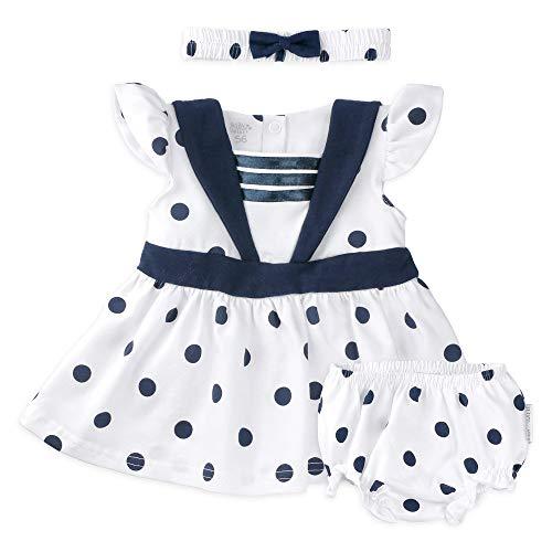 Baby Sweets 3er Babyset Kleid, Baby-Shorts & Baby-Haarband/Newborn Babykleidung Mädchen Weiß-Dunkelblau/Babykleid Baby-Outfit im Punkte-Design für Neugeborene & Kleinkinder / 9-12 Monate (80)