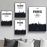 QZROOM Londres París ROM Dubai City Paisaje Arte de la Pared Pintura en Lienzo Carteles nórdicos e Impresiones Cuadros de Pared para la decoración de la Sala de estar-50x70 40x60cmx3-Sin Marco
