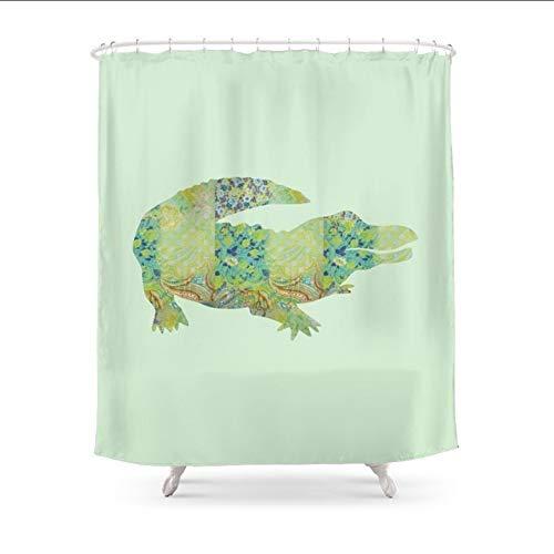 hysxm Coccodrillo Coccodrillo Vintage Floral Pattern Verde Teal Mint Blue Shower Curtain Tenda Personalizzata per Bagno in Poliestere Impermeabile-180(H)*200(W) Cm