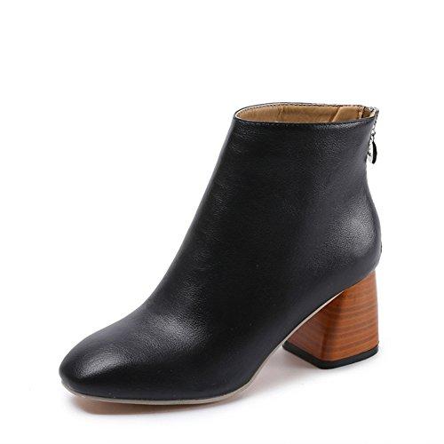 Damen Blockabsatz Stiefe - Leder-Optik Zipper Ankle Boots mit Fleece Gefüttert Winter Warm Mode Einfarbig Stiefel Schuhe