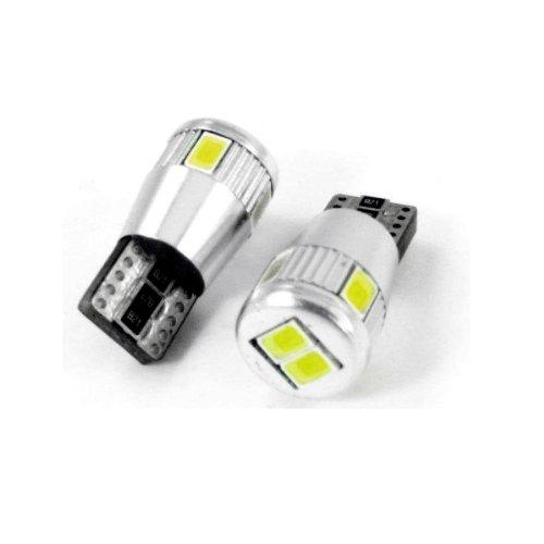 T10C6W - Blanc Canbus SMD LED lampe ampoule de rechange feux de position W5W T10 12V 6 LED SMD éclairage de plaque d'immatriculation éclairage intérieur (pas d'erreur)