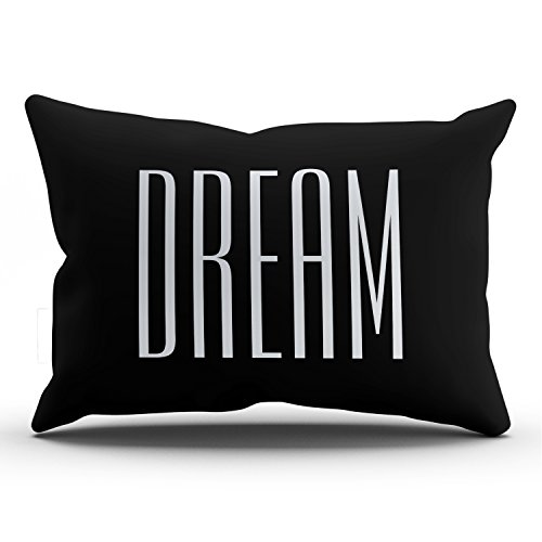 KEIBIKE Personalized Dream Quotes Chic Rectangle Decorative Lumbar Pillowcases Black and White Art Zippered Throw Pillow Covers Cases 12x24 Inches One Sided