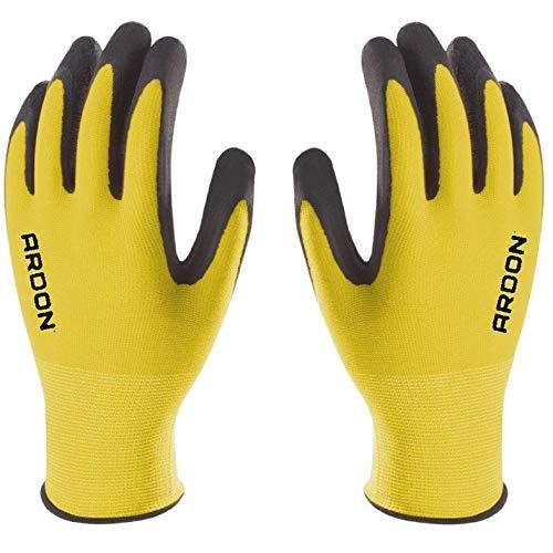 PETRA PROTECTION Guanti da lavoro, alta qualità, guanti in nylon rivestiti con schiuma di lattice resistente e flessibile. Giardino, industria, officina, trasporti (1 Paio, Giallo, taglia 10