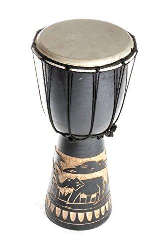 40cm Djembe Trommel Bongo Elefant Schwarz A1