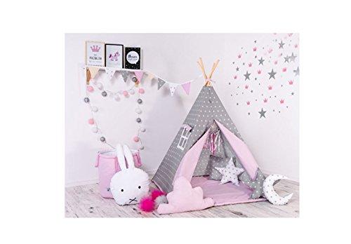 Indianerzelt Tipi Set für Kinder Spielzeug drinnen draußen Spielzelt Zelt Tipi-Set Indianer Indianertipi (Tipi ohne Elemente, Grauer Stern)