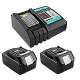 2 baterías de repuesto BL1830B de 18 V y 3 Ah con cargador para baterías de herramientas Makita BL1860B BL1860 BL1840B BL1840 BL1830B BL1830 BL1845 BL1835 LXT-400 197280-8 con indicador