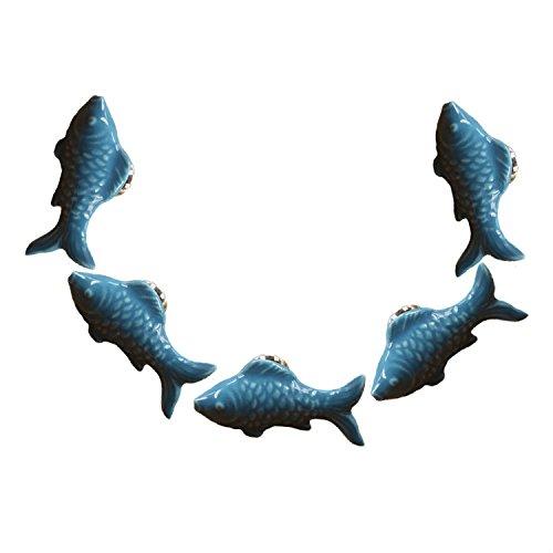 FBSHOP(TM) 5PCS Blau Nette Fisch Form Keramik Türknauf Griff Pull Baby-Kind-Möbel Schubladengriffe Schrank Schubladengriffe Türgriffe MöbelKnopf mit Schrauben
