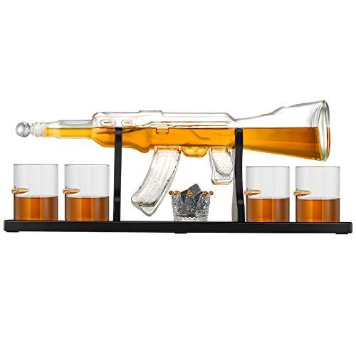S SMAUTOP Juego de decantador de Whisky de Vidrio, decantador de Whisky de 800 ml con Forma de Pistola Cuatro Vasos de Vidrio y un Vaso de Piedra de Whisky, para decoración del hogar