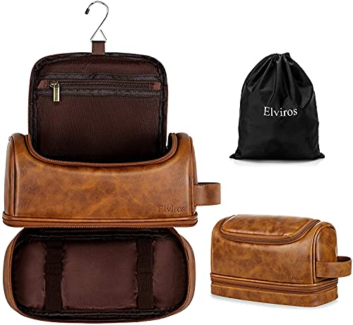 Elviros Toiletry Bag, Mens Leather Travel Organizer Kit with hanging hook, Large Water-resistant Toiletries Bathroom Shaving Bags for Women, and one Drawstring Shoes Bag (Brown)
