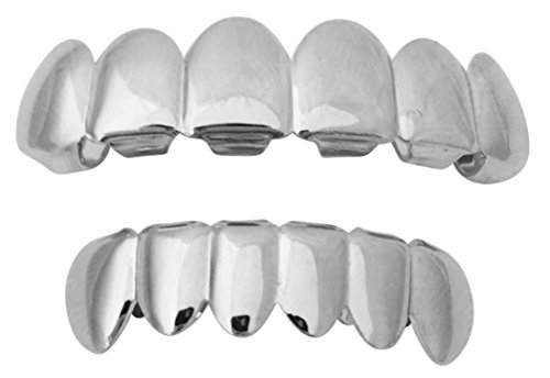 Big Dawgs Bling Halloween Suicide Squad Joker Jared Leto Silver Mouth Teeth Grillz Set w at-Home Mold Kit