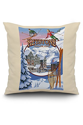 Keystone, Colorado Montage (20x20 Spun Polyester Pillow Case, White Border)