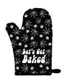 Twisted Wares Oven Mitt - Let's GET Baked - Funny Pot Holder, Heat Resistant Glove - Black