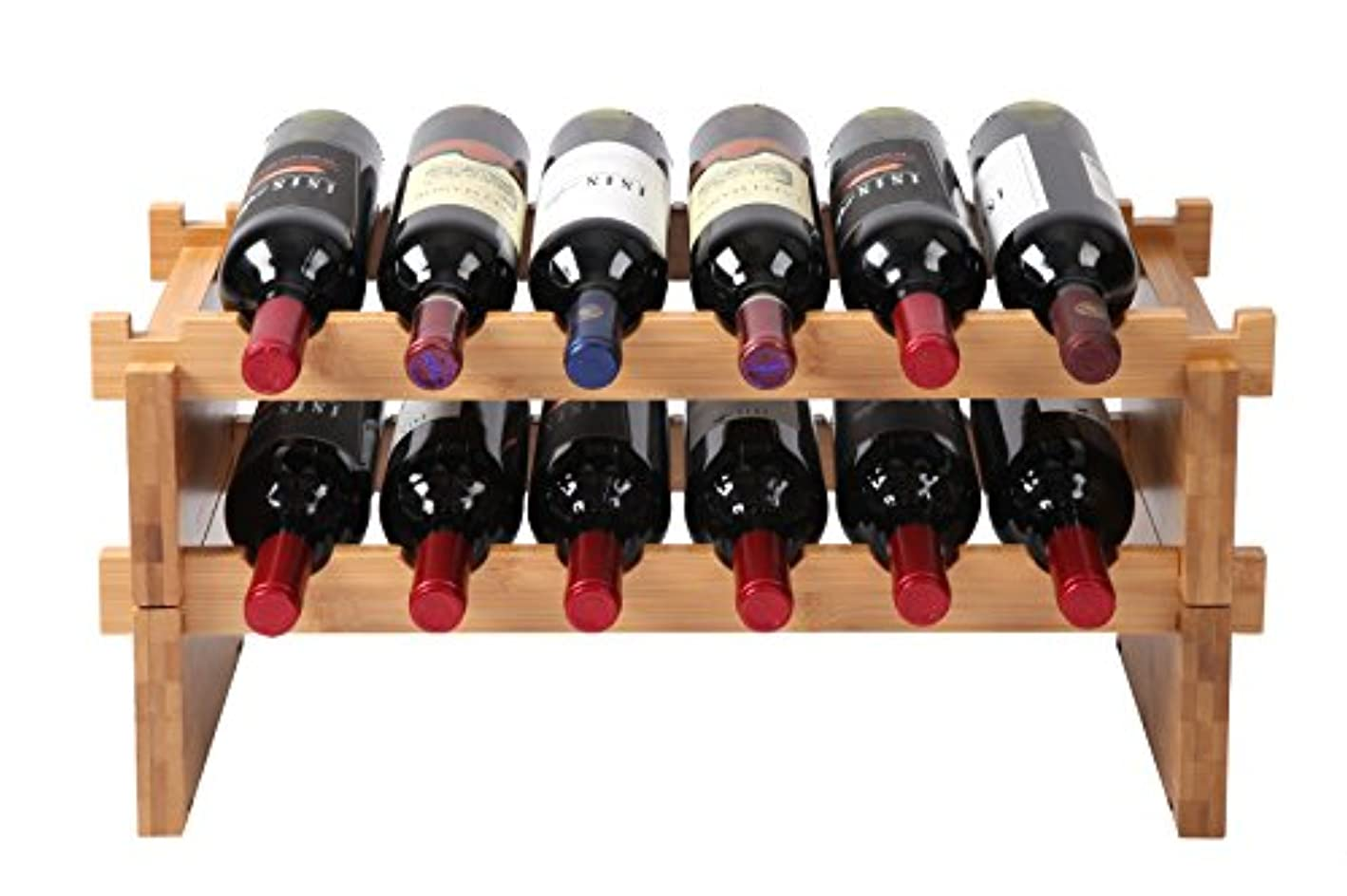 Finnhomy 12-Bottle Stackable Natural Bamboo Wine Display and Storage Rack