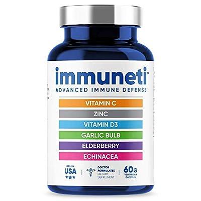 Immuneti - Advanced Immune Defense, 6-in-1 Powerful Blend of Vitamin C, Vitamin D3, Zinc, Elderberries, Garlic Bulb, Echinacea - Supports Overall Health, Provides Vital Nutrients & Antioxidants