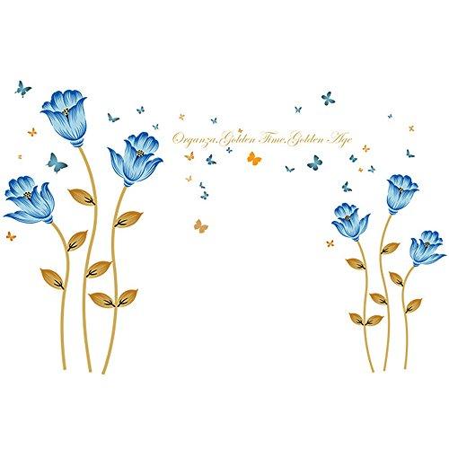 Winhappyhome romantique Fleurs bleues Art mural Stickers pour chambre à coucher Salon Chambre d'enfant Chambre d'enfant Fond Amovible Décoration Stickers