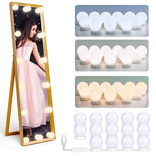 luces de espejo de tocador – 14 bombillas DIY maquillaje LED luces ajustables 3 modos de color 10 niveles de brillo se adhieren cuarto de baño dormitorio alimentados por USB