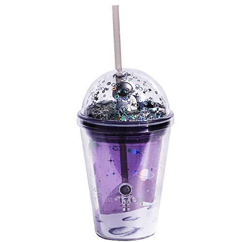 Tazza per bambini, con design astronauta, con glitter, a doppia parete, con coperchio e cannuccia, riutilizzabile, 380 ml, senza BPA, per feste estive e regali (B)