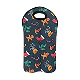 InterestPrint Wine Carrier Tote Bag Two Bottles Insulated Neoprene Wine Bottle Holder with Secure Carry Handle Gingerbread Man, Candy, Santa's Sock