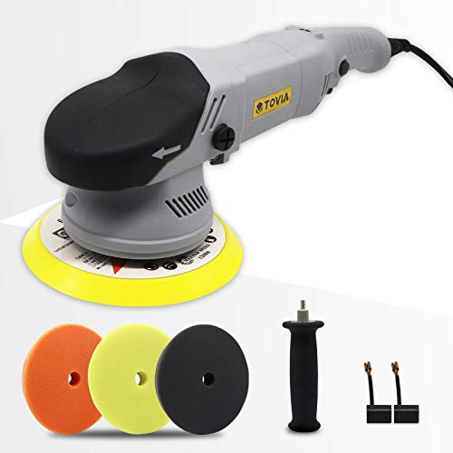 Buffer Polisher, T TOVIA 6 Inch Variable Speed Dual Action Random Orbital Car Tiles Polishing Machine with 3 Foam Pads, Boat Detailing Kit for Polishing, Waxing, Buffing, Sanding