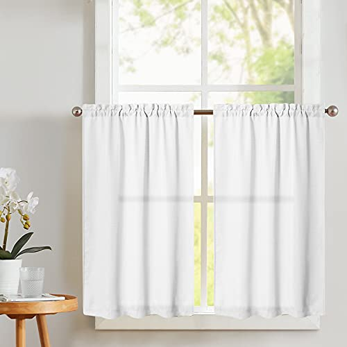 Vangao Kitchen Tier Curtains 36 inch Rod Pocket Half Window Curtain Casual Weave Textured Cafe Curtain Semi Sheer Short Curtain for Bathroom Bedroom, 2 Panels, W68xL36|Set,White